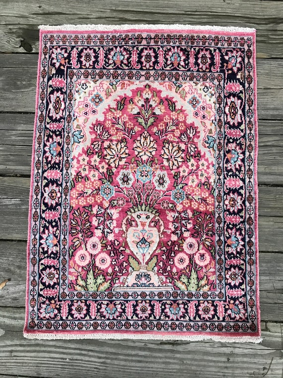 Antique pink rug, Small 2 x3 rug. Hand knotted wool and silk with organic vegetable dyes, Beautiful softening of colors, soft even pile.