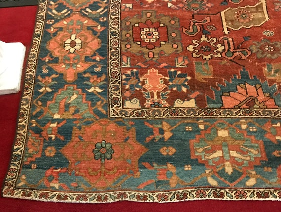 Rare and beautiful 8 x 11 19th century Heriz. From dealers collection. Fascinating drawing and colorsVegetable dyed wool hand knotted tribal