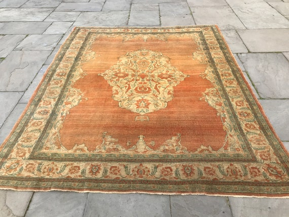 "Vintage orange area rug. 8' x 6'3"" . Orange area rug. 19th century Rare Tabriz created by master weaver. Exceedingly finely knotted"