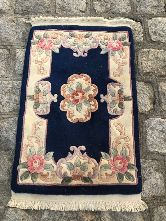 Vintage Chinese Aubouson, Blue with pastels, hand knotted 2' x 3'1""