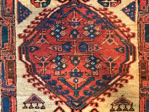 Vintage runner, antique Serab tribal rug, 7 x3, camel hair and vegetable dyed lambs wool, pinks,blues, worn but soft and sturdy.
