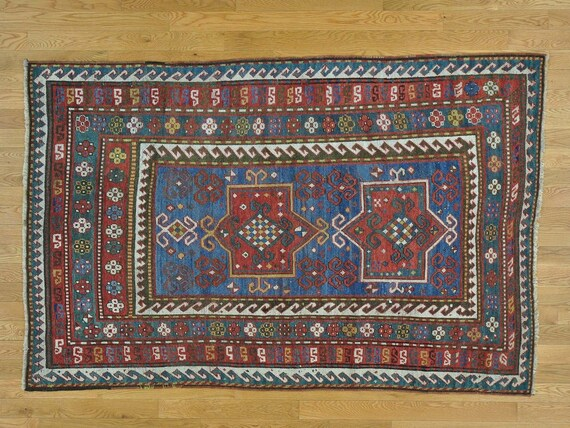 "Antique Caucasian rug. c 1900 Caucasian Karachopf collector's piece. 4'8"" x 7'2"" Very fine hand knotted antique. Azerbajian"