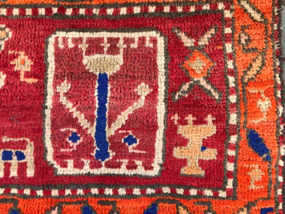 Vintage tribal rug. Small primitive figurative Heriz. Orange rug, Red rug. Hand knotted wool/ organic dyes