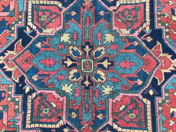 Antique Heriz, Antique 8'x11' tribal. Serapi, wonderful colors and abrash,  no brash reds, decorative, not busy, Brick red, indigo,teal,pink