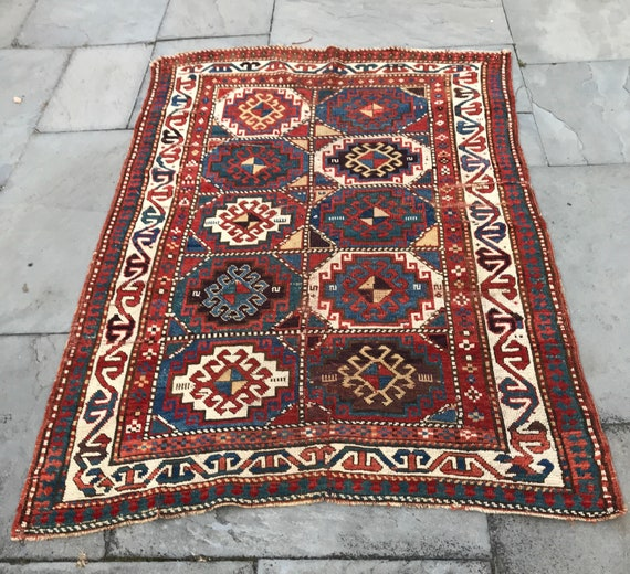 Antique Kazak Moghan Caucasian rug, nice condition, hand knotted wool with all organic dyes, beautiful shades of purple, teal, gold, orange