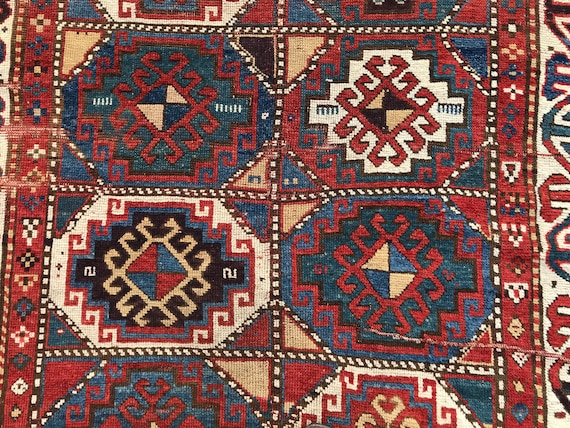 Caucasian rug Pre1900, Moghan, 4x6 rare purple dyes, highly collectible