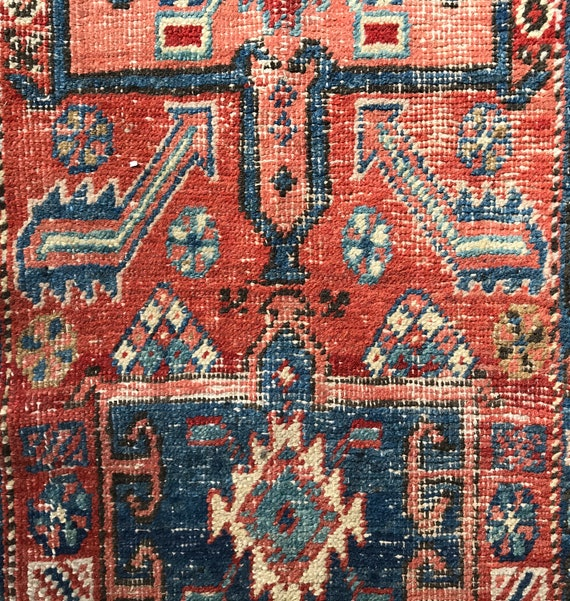 "Antique tribal runner, Pre 1900 village made, organic vegetable dyed wool. 7ft.3"" x 2ft 5"". Wonderful wear and abrash. Primitive design."