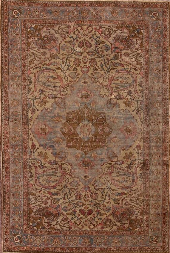 Oushak rug 4 x6, Antique Oushak, Vintage 4 x 6 Oushak rug. Gold Oushak, Pink Oushak, c1900 Faded Ouskak rug. Art Nouveau Salon rug, rare