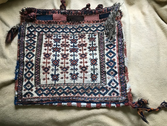 "Antique Caucasian Shahsavan camel bag. Complete bag, rare, collectible.Wool, vegetable dyes, 19"" x 18 in"