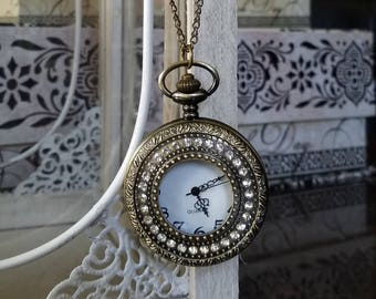 Pocket Watch Necklace - Antique Gold - Pendant Watch - Vintage Looking