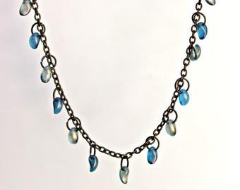 Blue/Green Teardrop Beaded Necklace