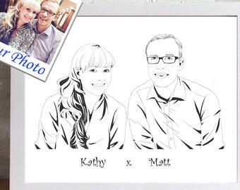 Custom Couples Portrait | Custom Portrait Illustration | 2 people Portrait | Personalized Gift | Family Drawing | Family Portrait