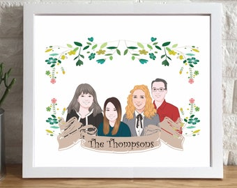 Custom Portrait | personalized illustration, custom illustration, wall art, personalized drawing, anniversary gift, Christmas Gift