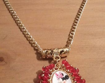 Minnie mouse pendant and necklace and Cinderella