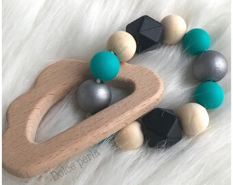 Cloud baby teether wood and silicone - customizable toy beads