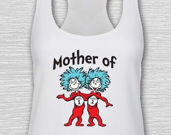 1 Womens Racerback Tank, Customize Names, Mother of Things, Universal Studios, Thing 1, Thing 2, Family Shirt, Doctor Seuss, Dr Seuss, Parks