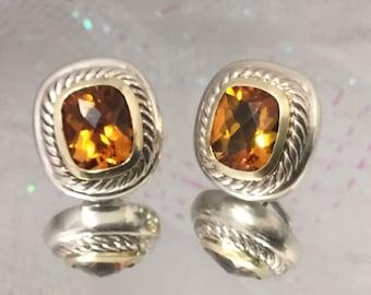 14d01fef8a9667 David Yurman Large Albion Citrine earrings 14k .925