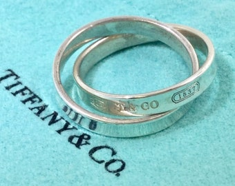 653b7ca4d Tiffany And Co Sterling Silver Interlocking 1837 Rings .925