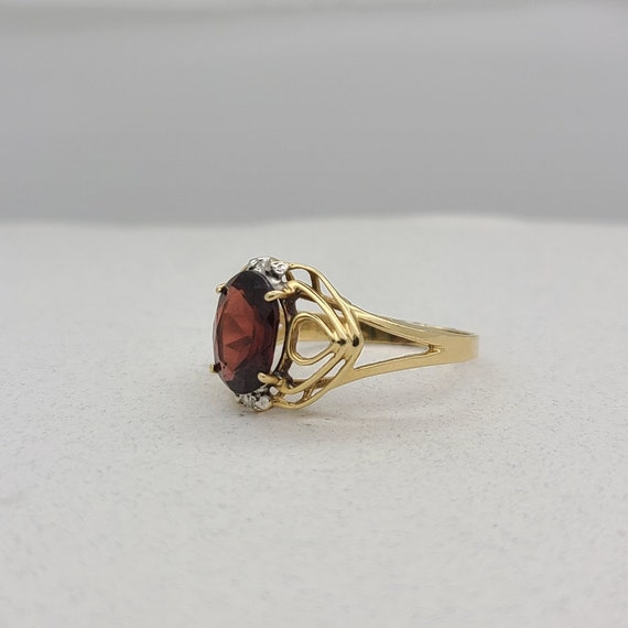 Vintage Garnet and Diamond Ring - image 2