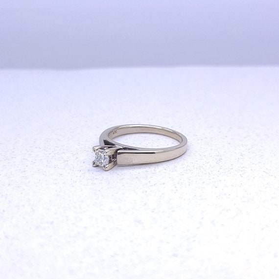 14K white gold solitaire ring - image 2