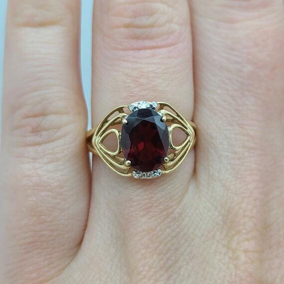 Vintage Garnet and Diamond Ring - image 1