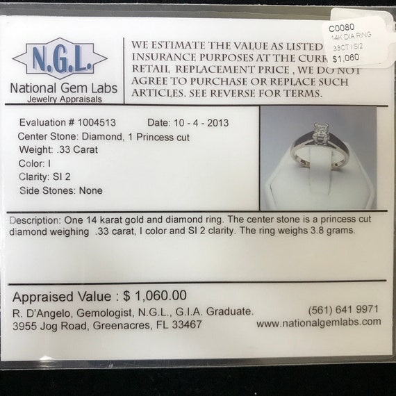 14K white gold solitaire ring - image 10