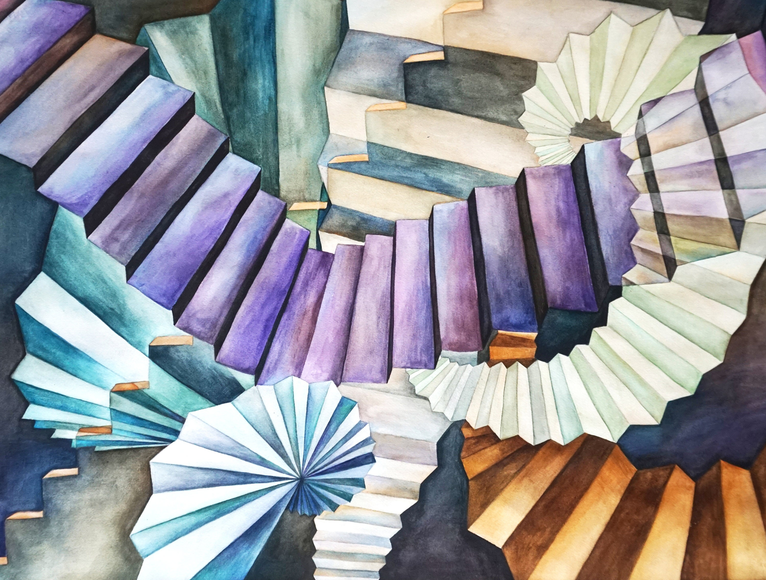 Abstract Watercolor Painting Stairs Art Contemporary Wall ...