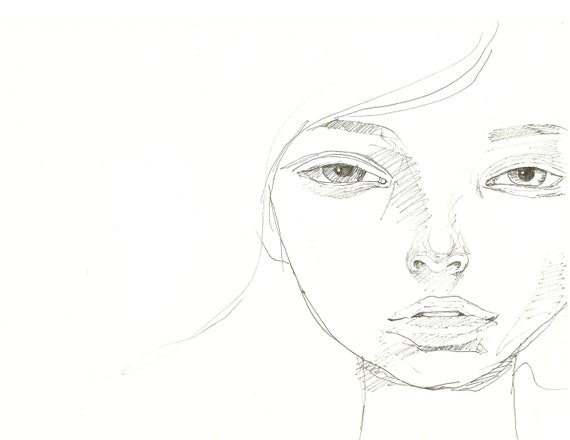 Drawing Of A Woman Face Girl Portrait Pencil Drawing Simple Sketch Pencil Sketch Minimal Drawing