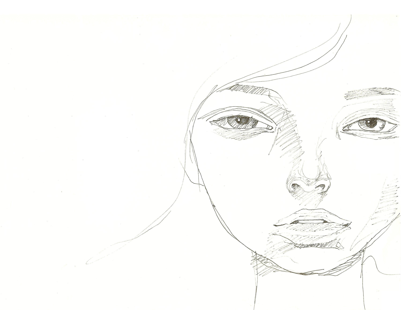 Rysunek Kobiety Twarz Dziewczyna Portret Rysunek Ołówek Etsy