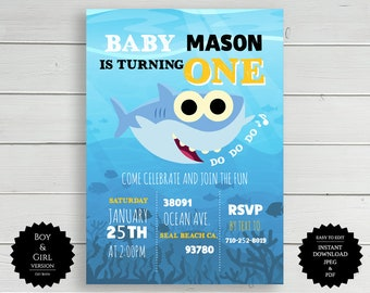 Baby Shark Invite Party Invitation Birthday