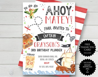 Modern Pirate Birthday Invitation DIY Printable or Printed Pirate Invitation Pirate invitation
