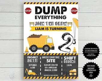 dump truck invite etsy