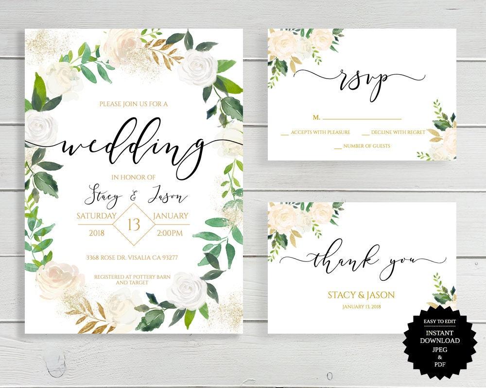 White And Green Wedding Invitations: White Floral Wedding Invitation White Gold Green Floral