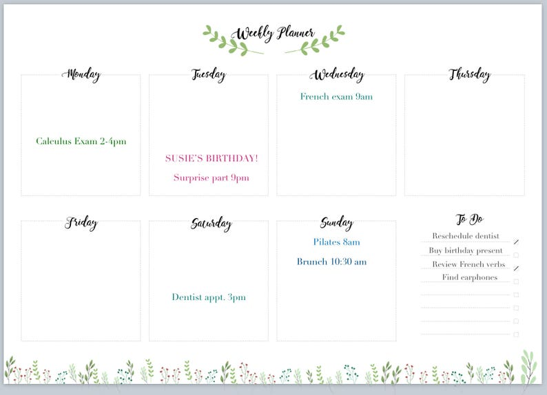 picture regarding Weekly Journal Template called Weekly Planner - Environmentally friendly and Leafy Bullet Magazine Template