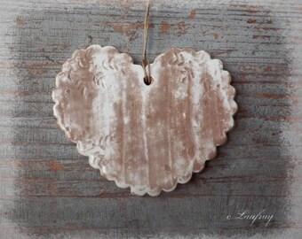 Ceramic heart, weathered, shabby chic style, ivory white lace print