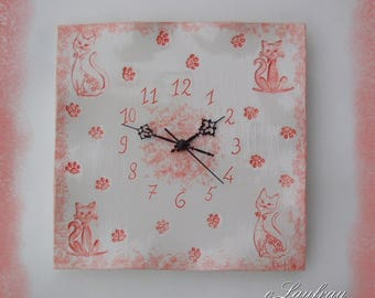 Wall clock, cats, red coral on white background patterns
