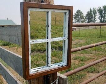 Mirror- Wall Mirror- Rustic Wall Decor- Rustic Mirror- Farmhouse Mirror- Metal and Wood Decor- Industrial Window Frame- Industrial Mirror