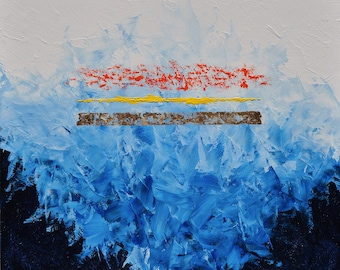 Trinitarian Theology: Dreaming of Rothko #41 - 16 x 16 inch oil & gold foil painting, ready to hang