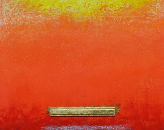 Trinitarian Theology: Dreaming of Rothko #43,  16 x 16 inch oil & gold foil painting, mixed media, ready to hang