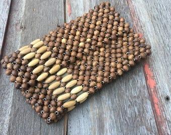 Vintage Wood Beaded Clutch