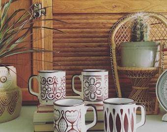Vintage Set of 4 Patterned Mugs