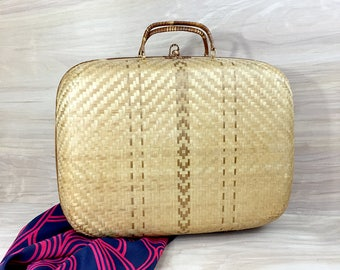 Woven Wicker Rattan Purse • Vintage Straw Handbag • Bamboo Purse • 1960s Wicker Box Handbag