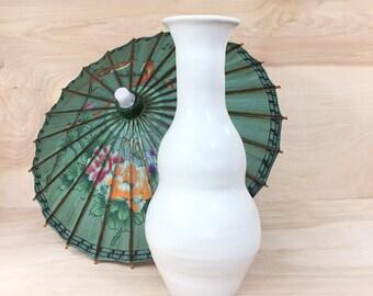 White Double Gourd Vase • Long Neck Vase • Modern Hand-Thrown Vase • Mid Century Vase