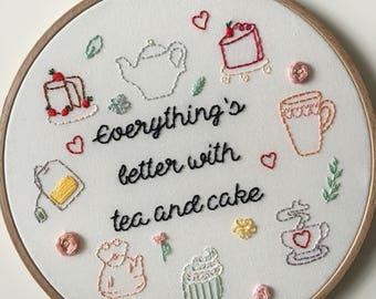 Tea and Cake Embroidery Hoop Art
