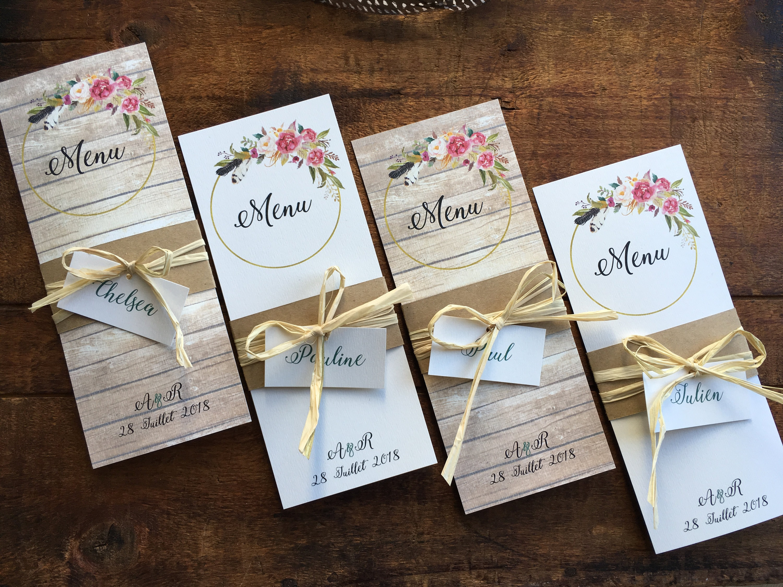 Menu et marque place de mariage / Carte de menu champêtre / | Etsy