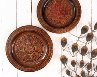 Set of 2 - Wooden Polish Folk Art Plaques by Folklor - Vintage Wall Decor