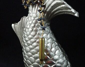 Blue Goldstone Chip Bullet Necklace