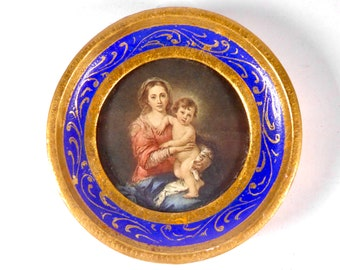 Vintage Miniature Madonna and Child, Wooden Round Gilt Edged Easel Frame, Circa 1950's