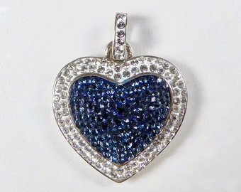 Vintage OTC BZ Heart Pendent Crystal Stones Set in Sterling Silver, Blue Pave Center, Clear Stone Surround, Intricate Heart Design Backing