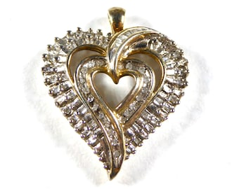 Vintage JWBR Diamond Double Heart Pendent Set In Sterling Silver, Circa 1980's Kay Jewelry Starter Piece, Baguettes and Rounds